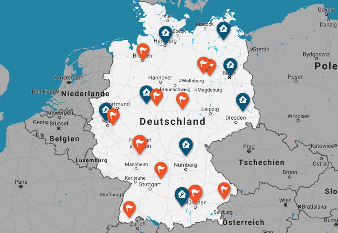 Regionale Partnersuche Deutschland-Karte