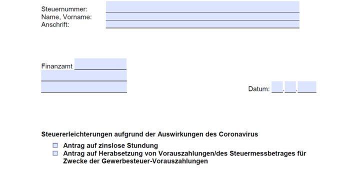 Formular zur Beantragung von Steuererleichterungen während Corona