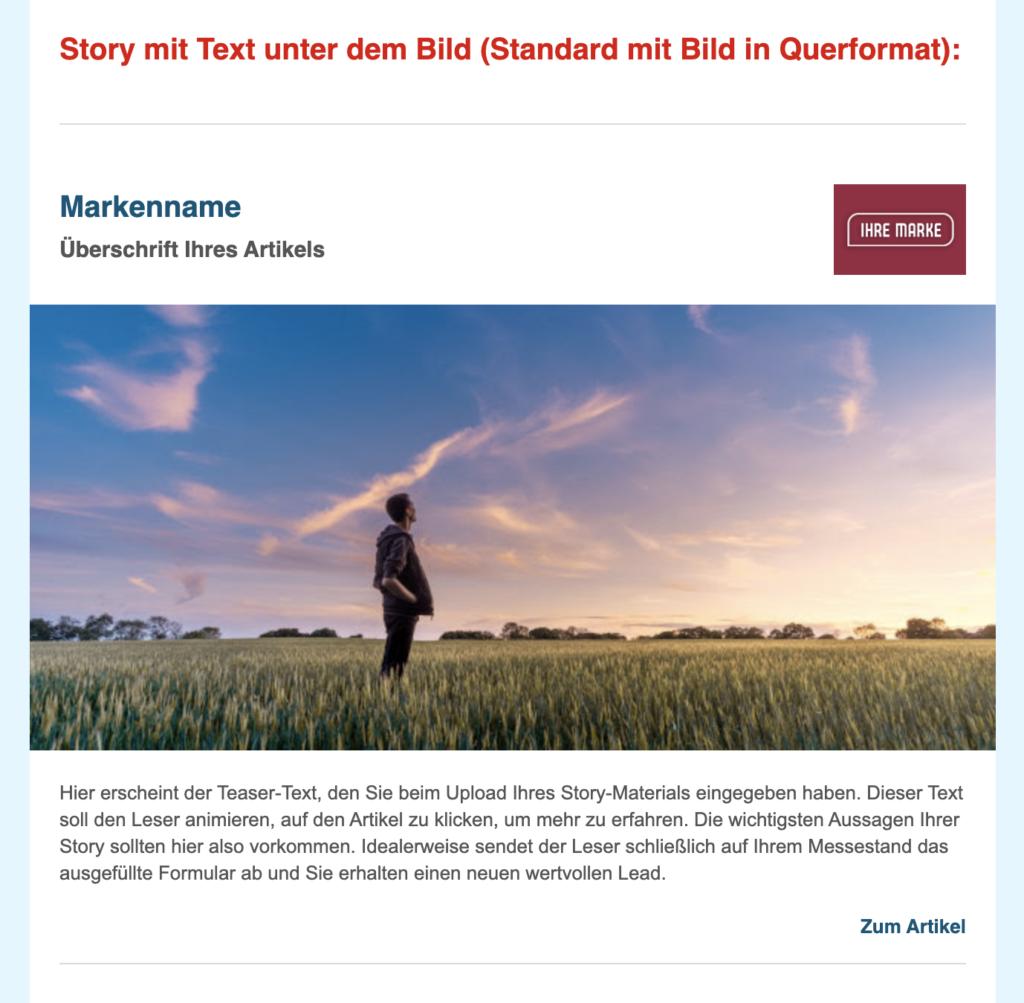 Beispiel Story im FranchisePORTAL Newsletter