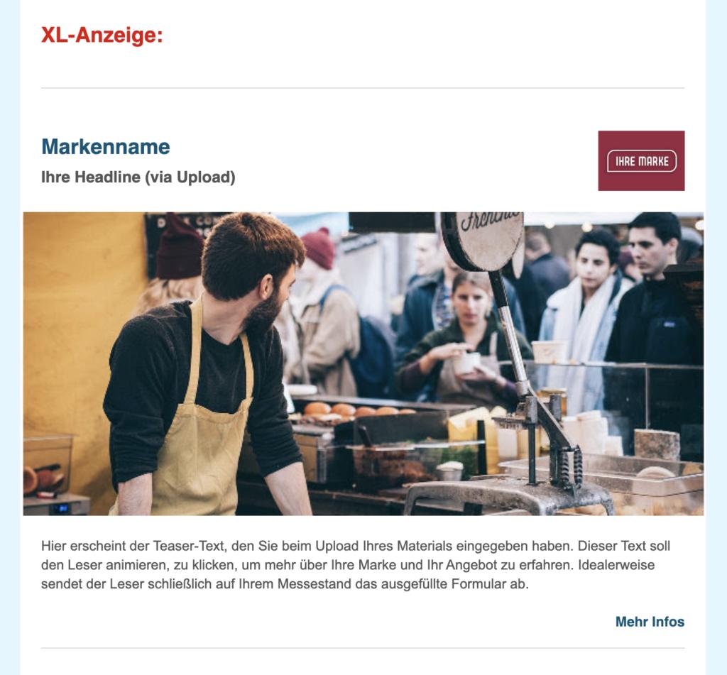Beispiel XL-Anzeige im FranchisePORTAL Newsletter