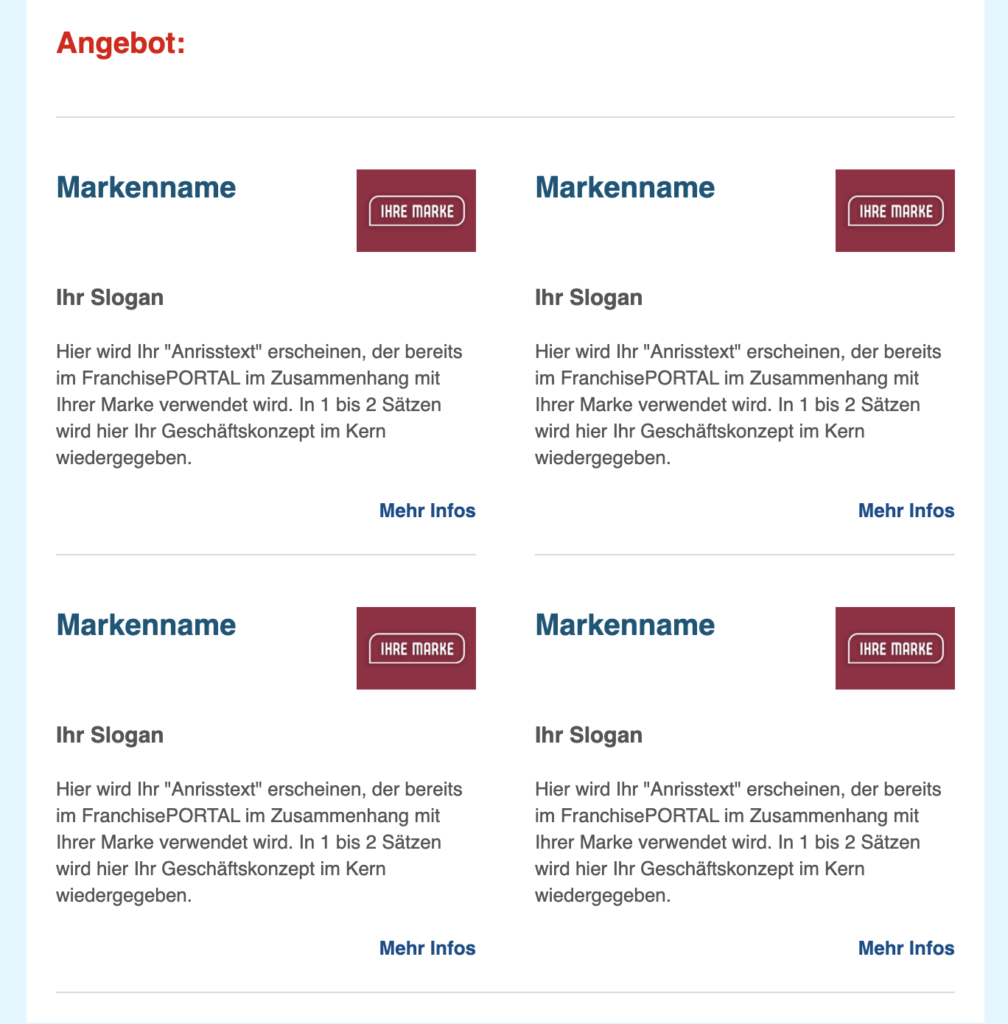 Beispiel Angebot im FranchisePORTAL Newsletter